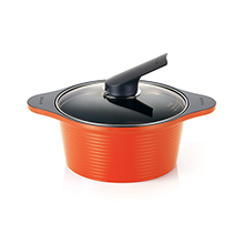 20CM / 2.5LT ALUMITE CERAMIC DIE-CAST STOCK POT + COVER - ORANGE
