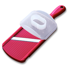 DOUBLE-EDGED MANDOLINE SLICER WITH HANDGUARD (RED)