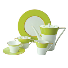 CHAMBERY - LEMON GREEN - 47PC BONE CHINA DINNER SET