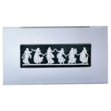 DANCING HOURS PLAQUE, WHITE ON BLACK 34X 19CM