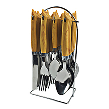 24PC WOODEN CUTLERY SET