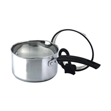 16CM STAINLESS STEEL SAUCEPAN WITH POUING SPOUTS + SELF-STANDING