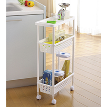 SPACIA 3-TIER KITCHEN SLIM TROLLEY WITH WHEELS