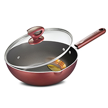 "28CM "" OIL CONTROL "" INDUCTION-SAFE STIR FRY PAN + GLASS COVER"