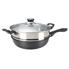 30CM HARD ANODISED INDUCTION SKILLET WOK + S/STEEL STEAMER