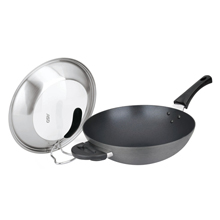 32CM HARD ANODISED PLATINUM SKILLET WOK + SELF-STANDING COVER