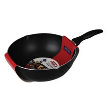 28CM NON-STICK DEEP WOK PAN WITH POURING SPOUTS