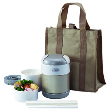0.72LT DOUBLE STAINLESS STEEL VACUUMISED LUNCH BOX WITH BAG