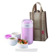 0.92LT DOUBLE STAINLESS STEEL VACUUMISED LUNCH BOX WITH BAG