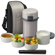 2LT DOUBLE STAINLESS STEEL VACUUMISED LUNCH BOX WITH BAG
