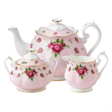NEW COUNTRY ROSE - PINK 3PC TEAPOT, COVERED SUGAR & CREAMER