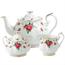 NEW COUNTRY ROSE - WHITE 3PC SET TEAP, COVERED SUGAR & CREAMER