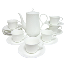 WHITE SILK - 24PC BONE CHINA TEA SET